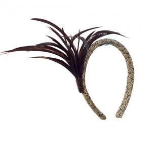 Haarreif aus Straußenstroh mit Gänsereißfedern