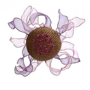 Haarclip mit Organzablättern beige/violett Töne
