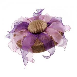 Pillbox mit Organzablättern beige/violett Töne