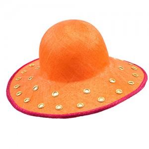 Sisalschlapphut orange, gestanzt und mit Ösen