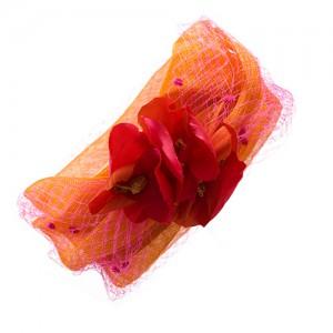 Sinamay-Kranz orange, mit Schleier und Seidenblüten