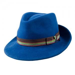 Bogartform, Haarfilz blau mit bunter Garnitur