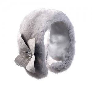 Nerz-Ohrenschützer mit Lederblüte