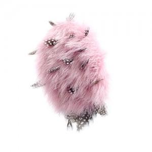 Haarclip rosa Lammfell mit Perlhuhnfedern