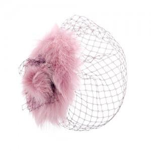 Headpiece, Lamm rosa mit mauvefarbenem Schleier