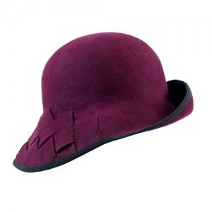 Gewobener Hut, Tuchfilz bordeaux, mit schwarzem Einfass