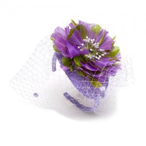 Seide, Blüte aus Holzspan, Chenilleschleier
