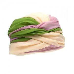 Turban, Chiffon, rosa/grün/gelb