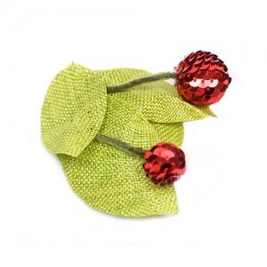 Haarclip mit Kirschen,  Sisal/Pailletten, absinth/rot