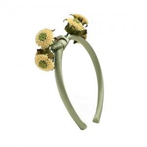 Haarreif schmal mit Blüten,  Seide/Papier, lindgrün/wollweiß