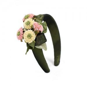 Haarreif breit mit Blüten,  Seide/Papier, lindgrün/rosa