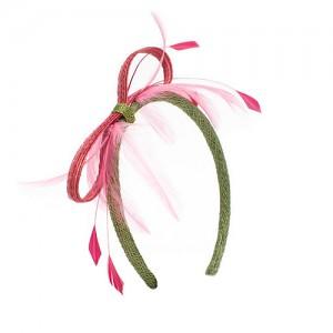 Haarreif mit Schleier,  Sisal/Federn, lindgrün/magnolie