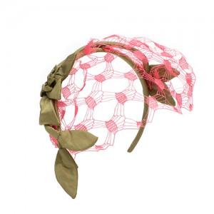 Haarreif, Blätter und Schleier,  Sisal/Seide, lindgrün/magnolie