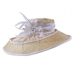 Hut gelb/weiß Sisal mit doppeltem Rand