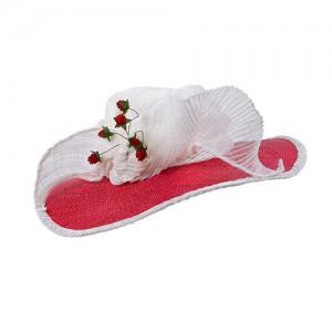 Hut rot/weiß mit großer Schleife und Beeren, Sisal