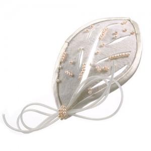 Braut-Clip in Blattform mit Perlen bestickt
