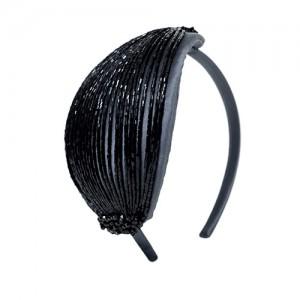 Haarreifen grauer Satin mit schwarzen Stäbchen