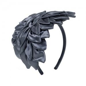 Haarreif mit Blättern, grauer Satin