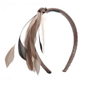 Haarreif Schlange hellbraun mit Federn