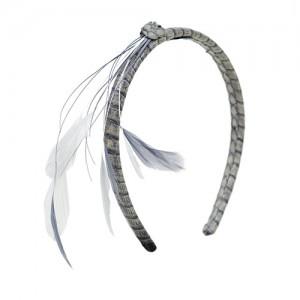 Haarreif Schlange grau mit Feder