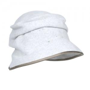 Filz-Kappe hellmeliert mit taupefarbenem Einfass