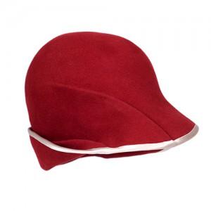 Filz-Schirmhut rot, mit nutefarbigem Einlass