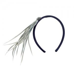 Satin-Haarreif mit grauen Reisfedern und Swarowskis