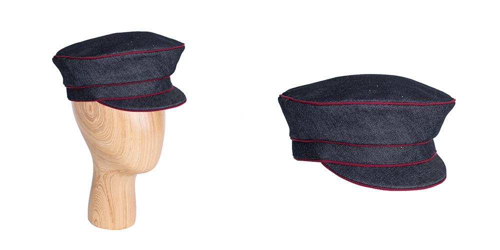 Prinz-Heinrich-Mütze aus Jeansstoff mit Ripspaspel